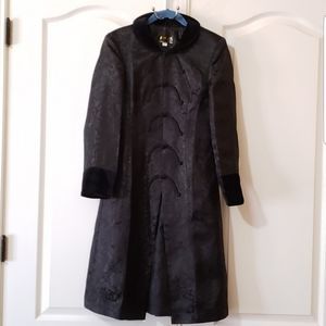 Chinese Black Silk Coat with Faux Fur Accents